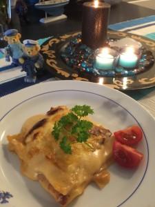 Lasagne med bacon och champinjoner